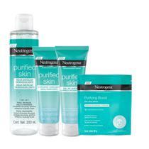 Kit Purified Skin: Gel de Limpeza 80g + Esfoliante Facial 100g + Água Micelar 7 em 1 200ml + Máscara de Hidrogel Neutrogena Purifying Boost 30ml -