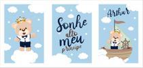Kit Quadrinhos Decorativos - Quarto Bebê Tema Ursinho Príncipe - silk plac