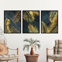 Kit Quadro Decorativo Folha Dourada Palmeira Moldura Preta - Inove Papéis de Parede