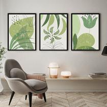 Kit Quadro Decorativo Folha Verde Moldura Preta - Inove Papéis de Parede