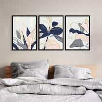 Kit Quadro Decorativo Folhas Azul e Rosa Moldura Preta - Inove Papéis de Parede