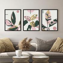 Kit Quadro Decorativo Folhas Rosa e Ouro Moldura Preta - Inove Papéis de Parede