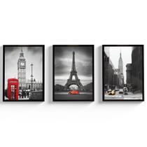 Kit Quadros Decorativos Cidades Moldura e Vidro Londres Paris Para Sala Torre Eiffel - Coruja de Gravata