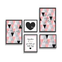 Kit Quadros Decorativos Com Molduras Frases Motivacionais Abstrato Love Quarto Sala - Pri D'Cora