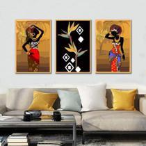 Kit Quadros Decorativos Cultura Africana - Arte Quadro - Paradecoração