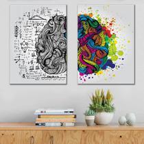 Kit quadros Decorativos Duas Partes Do cérebro - Arte Quadro