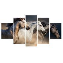 Kit Quadros Decorativos Sala Cavalos Fazenda Mosaico Corrida - X4Adesivos