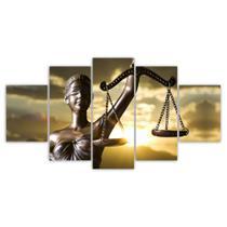 Kit Quadros Decorativos Sala Deusa Justiça Direito Advocacia Mosaico - X4Adesivos