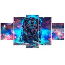 Kit Quadros Decorativos Sala Leão Colorido Mosaico Universo - Quadros Barato