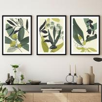 Kit Quadros Decorativos Verde Folhas Moldura Preta - Inove Papéis de Parede