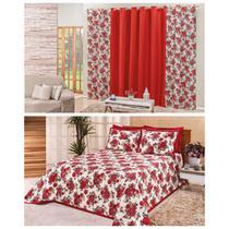 Kit Quarto Cobre Leito Colcha Casal Padrão Tecido Estampado + Cortina 2,00m Floral Vermelho - Rviotto Enxovais