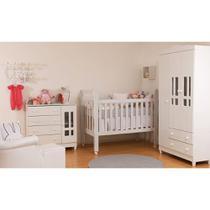 Kit Quarto Infantil Ariel Branco - Berço + Cômoda + Guarda-roupa - Abra Cadabra Móveis
