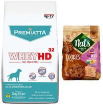 Kit Ração Premiatta Whey HD 32 para Cães Filhotes 3kg + Cookies de Carne e Cereais Nat digest (65g) - Premiatta/Nats