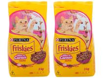 Kit Ração Premium para Gato Friskies Adulto - Mix de Carnes 3kg 2 Unidades