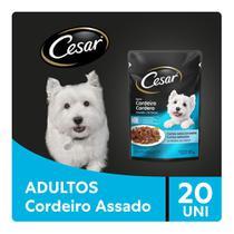 Kit Ração Úmida Cesar Sachê Cortes Selecionados Sabor Cordeiro Assado Para Cães Adultos 20x85g -
