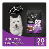 Kit Ração Úmida Cesar Sachê Cortes Selecionados Sabor Filé Mignon Para Cães Adultos 20x85g -