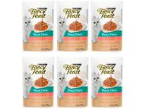 Kit Ração Úmida para Gato Adulto Sachê Fancy Feast - Petit Filets Salmão 6 Unidades 85g Cada