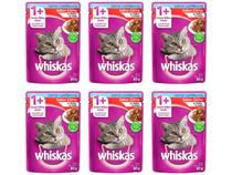 Kit Ração Úmida para Gato Adulto Sachê - Whiskas Carne ao Molho 6 Unidades 85g