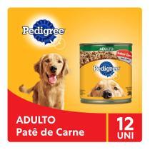 Kit Ração Úmida Pedigree Lata Patê de Carne para Cães Adultos 12x280g -