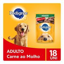 Kit Ração Úmida Pedigree Sachê Carne ao Molho para Cães Adultos 18x100g -