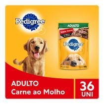 Kit Ração Úmida Pedigree Sachê Carne ao Molho para Cães Adultos 36x100g -