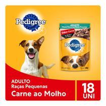 Kit Ração Úmida Pedigree Sachê Carne ao Molho para Cães Adultos de Raças Pequenas 18x100g -