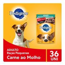 Kit Ração Úmida Pedigree Sachê Carne ao Molho para Cães Adultos de Raças Pequenas 36x100g -