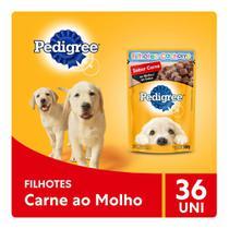 Kit Ração Úmida Pedigree Sachê Carne ao Molho para Cães Filhotes 36x100g -
