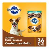 Kit Ração Úmida Pedigree Sachê Cordeiro ao Molho para Cães Adultos de Raças Pequenas 36x100g -