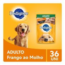 Kit Ração Úmida Pedigree Sachê Frango ao Molho para Cães Adultos 36x100g -