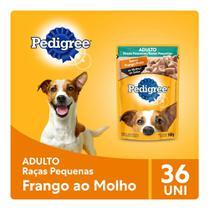 Kit Ração Úmida Pedigree Sachê Frango ao Molho para Cães Adultos de Raças Pequenas 36x100g -
