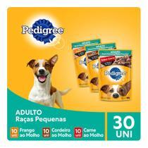 Kit Ração Úmida Pedigree Sachê Para Cães Adultos de Raças Pequenas Carne + Cordeiro + Frango 30x100g -