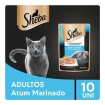 Kit Ração Úmida Sheba Sachê Cortes Selecionados Sabor Atum Marinado Para Gatos Adultos 10x85g -