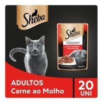 Kit Ração Úmida Sheba Sachê Cortes Selecionados Sabor Carne ao Molho Para Gatos Adultos 20x85g -