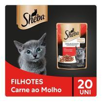 Kit Ração Úmida Sheba Sachê Cortes Selecionados Sabor Carne ao Molho Para Gatos Filhotes 20x85g -