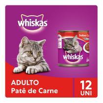 Kit Ração Úmida Whiskas Lata Patê de Carne Para Gatos Adultos 12x290g -