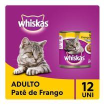 Kit Ração Úmida Whiskas Lata Patê de Frango Para Gatos Adultos 12x290g -
