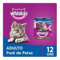 Kit Ração Úmida Whiskas Lata Patê de Peixe Para Gatos Adultos 12x290g -