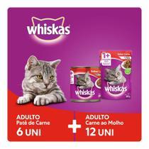 Kit Ração Úmida Whiskas Para Gatos Adultos Lata Patê de Carne 6x290g + Sachê Carne ao Molho 12x85g -