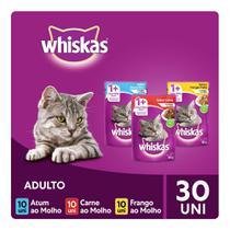 Kit Ração Úmida Whiskas Sachê ao Molho Para Gatos Adultos Atum + Carne + Frango 30x85g -