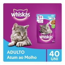 Kit Ração Úmida Whiskas Sachê Atum ao Molho Para Gatos Adultos 40x85g -