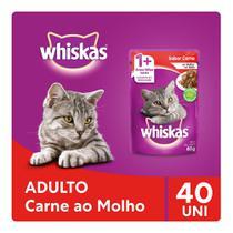 Kit Ração Úmida Whiskas Sachê Carne ao Molho Para Gatos Adultos 40x85g -