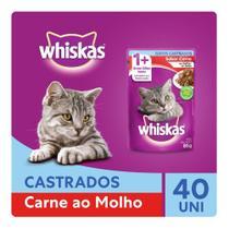 Kit Ração Úmida Whiskas Sachê Carne ao Molho Para Gatos Adultos Castrados 40x85g -