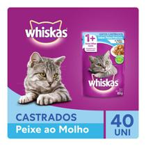 Kit Ração Úmida Whiskas Sachê Peixe ao Molho Para Gatos Adultos Castrados 40x85g -