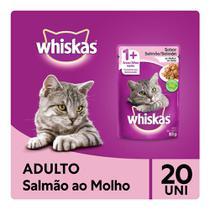 Kit Ração Úmida Whiskas Sachê Salmão ao Molho para Gatos Adultos 20x85g -