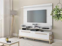 kit rack e painel de tv 60 polegadas mais mesa de centro retangular MDF 180 cm cor Natural Branco - Tebarrot