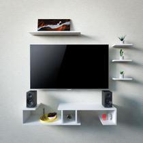 kit Rack TV DVD Premium organizador 4 nichos - Kit 5 Peças