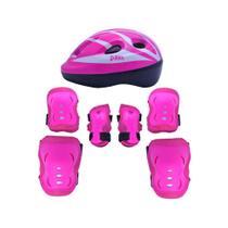 Kit Radical de Proteção com Capacete - M Rosa - Bel Sports - Belfix