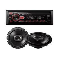 Kit Rádio Automotivo MVH-98UB + Alto-Falante Triaxial 6 60w Rms 4ohms Ts-1790br Pioneer -