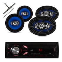 Kit Radio Bluetooth + Falante 6x9 200 W + Par 6 Pol + Antena - Orion